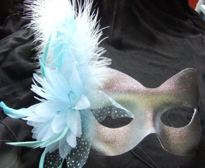 Silver & pale blue flower feather mask